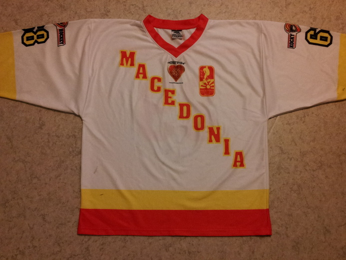 Macedonia game worn ice hockey national team jersey